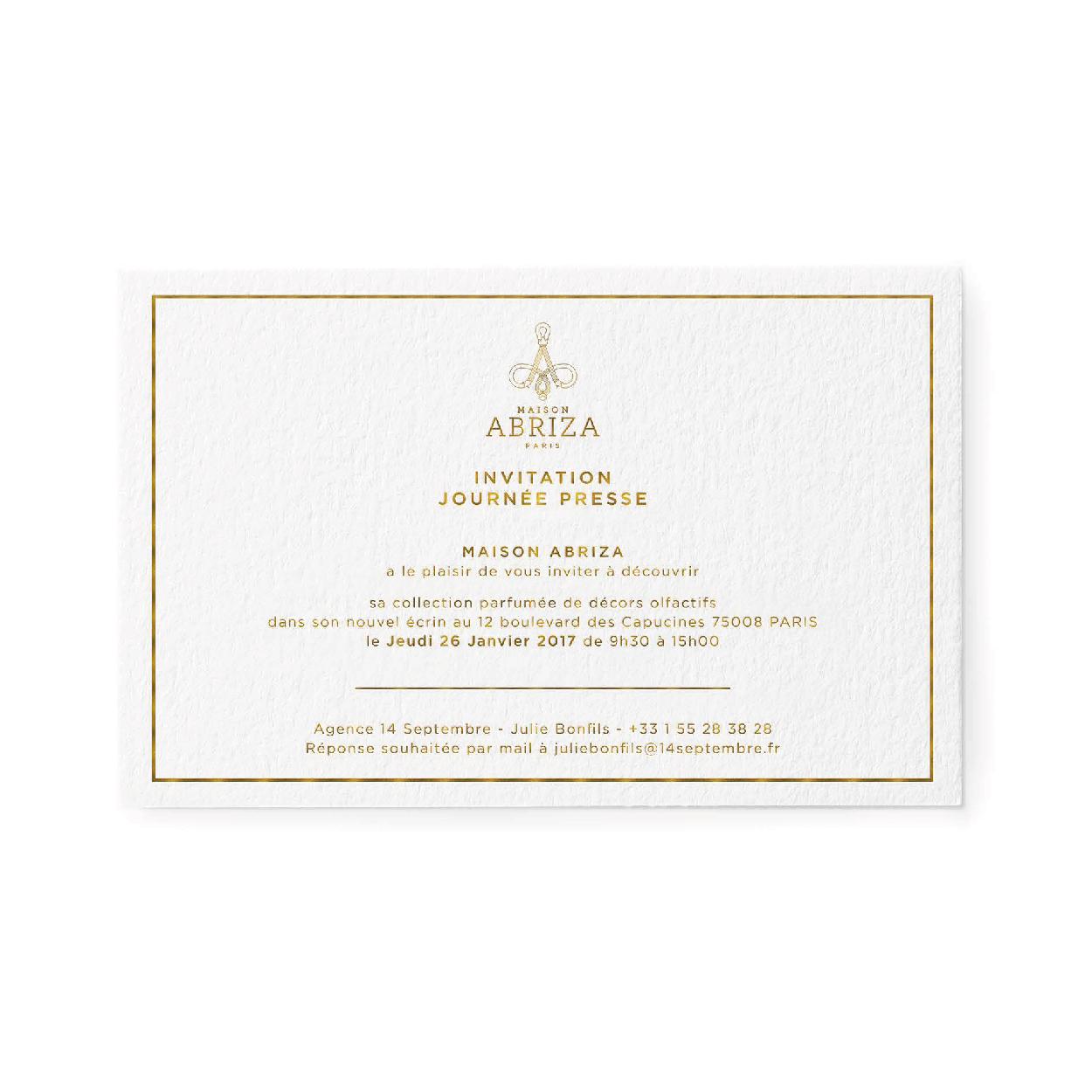 1703 FACTORY- ABRIZA invitation presse