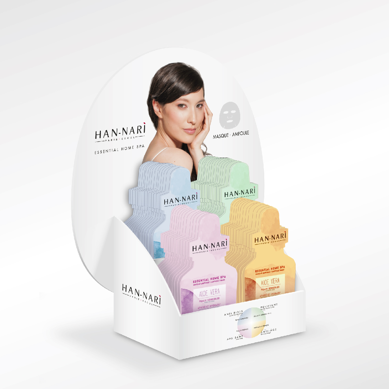 Storytelling brand content PLV Présentoir HANNARI Essential Home SPA 1703 Factory