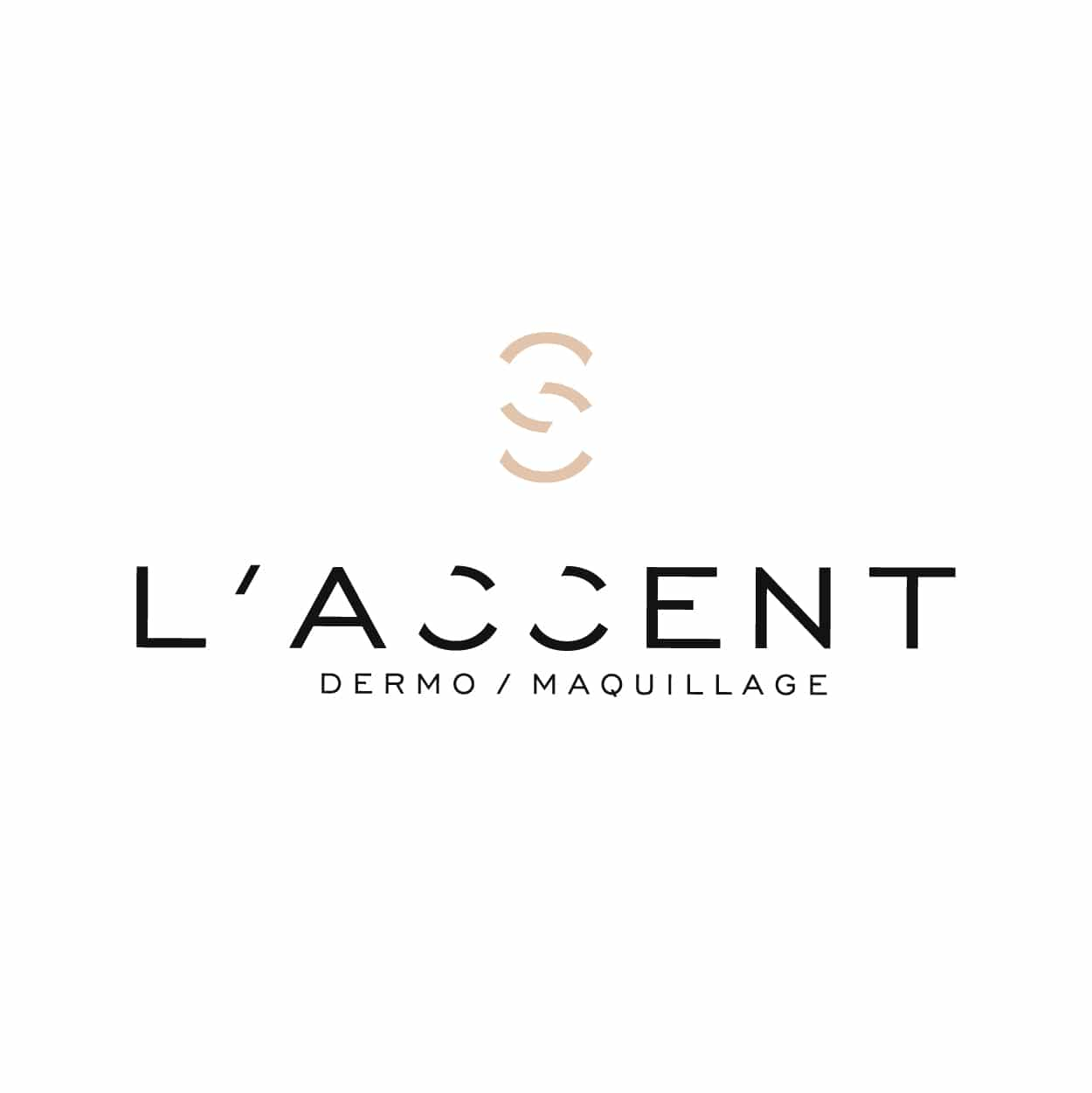 création graphique LOGO L'ACCENT DERMO MAQUILLAGE marque make-up made in france by1703FACTORY