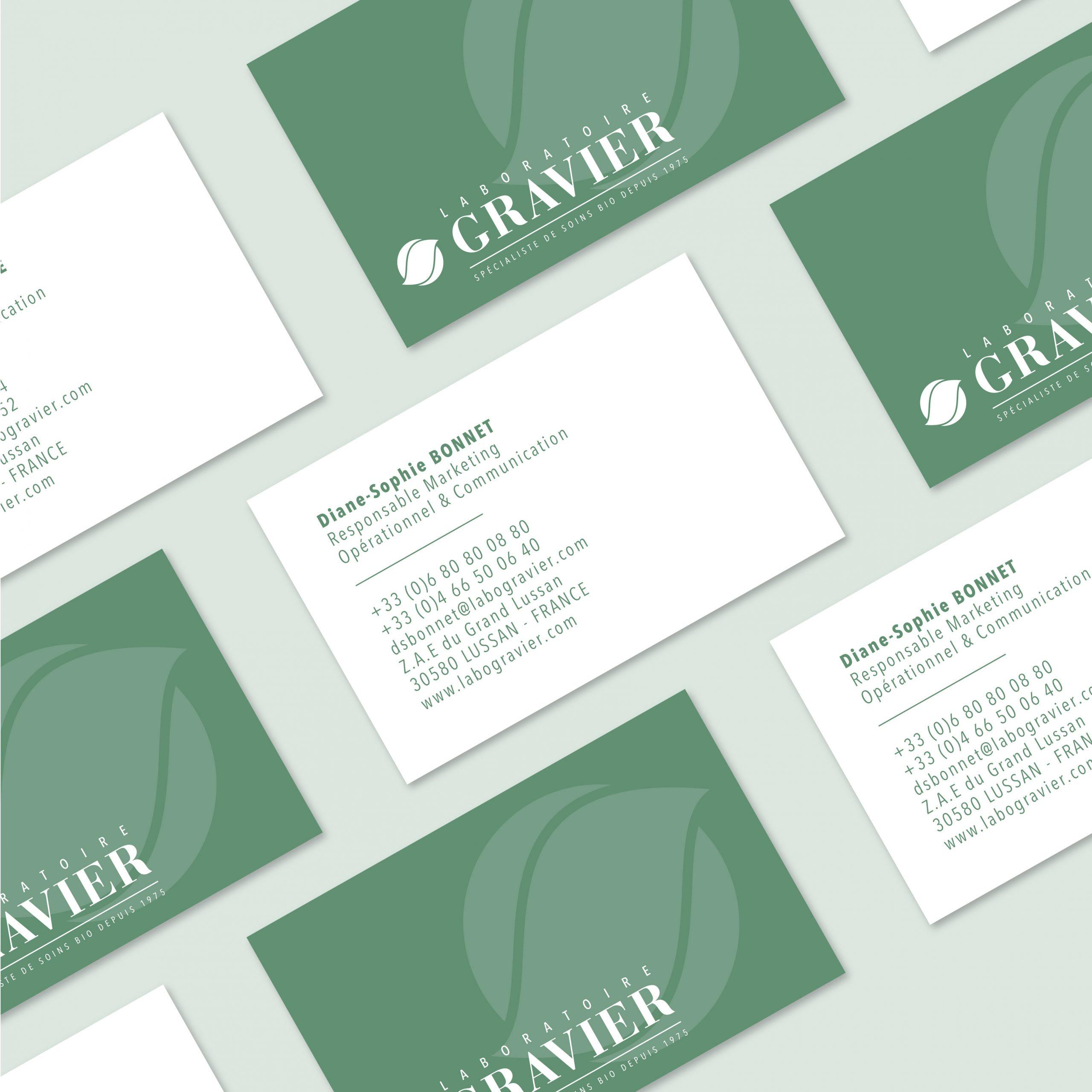 Création carte de visite laboratoire GRAVIER identité visuelle